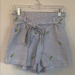 Seersucker pineapple shorts